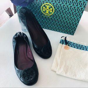 Tory Burch Reva Black Leather Flats